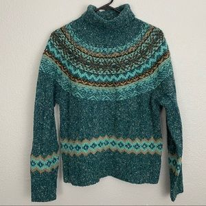 Dress Barn Teal Fair Isle Turtleneck Sweater